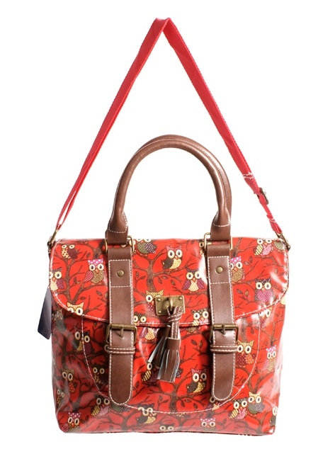 Large Red Owl Handbag with Tassel & Buckle