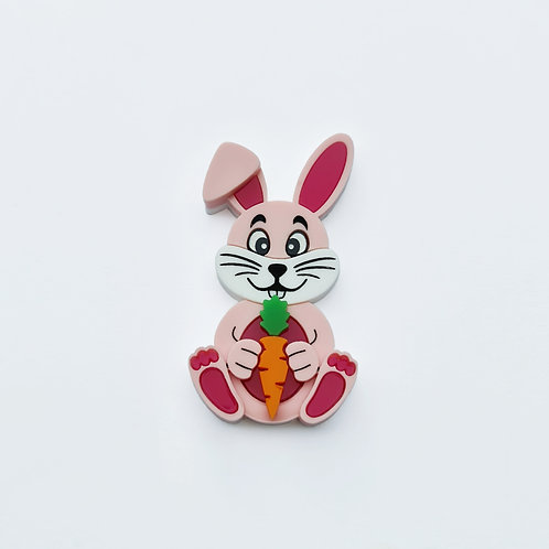 Pink Bunny with Carrot Brooch