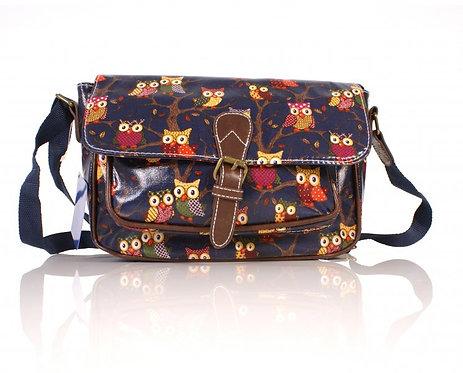 Navy Shoulder Bag w/ Front Pocket & Buckle