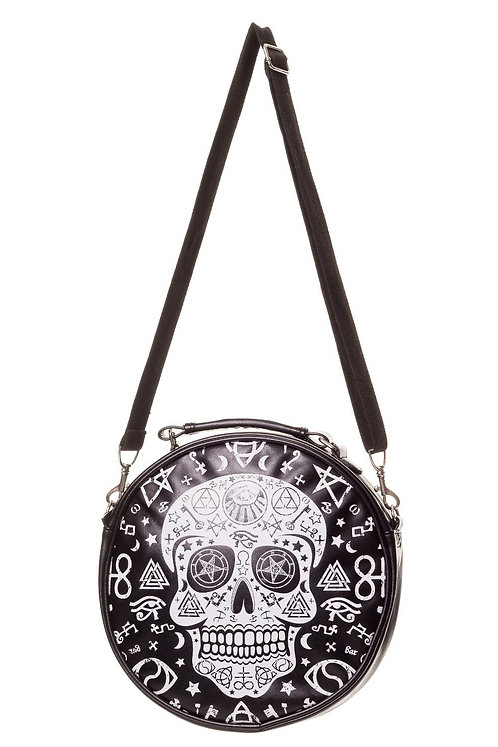 Round Black Skull Pentagram Bag