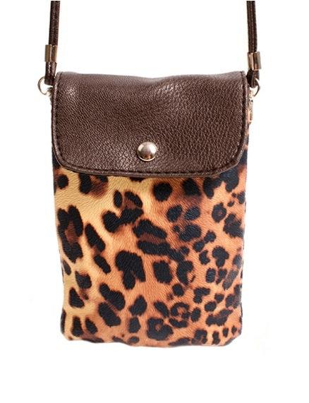 Dark Brown Slim Animal Print Neck Bag w/ Flapover