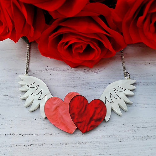 Winged Hearts Statement Necklace