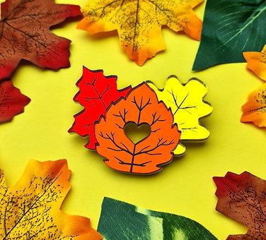 Autumn Leaves Trio Mirror Acrylic Brooch