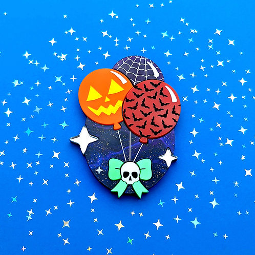Spooky Balloons Trio and Skully Bow Brooch