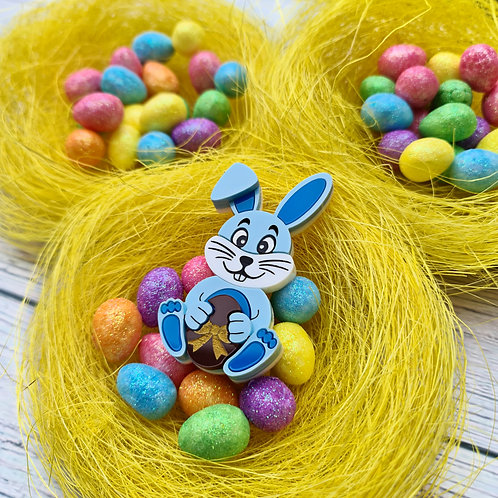 Blue Bunny with Choc Egg Brooch