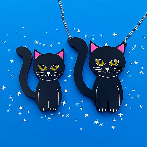 Black Cat Brooch and Necklace - blue - s