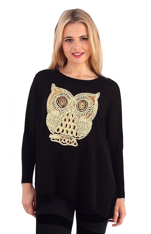 Black Round Neck Owl Jumper - One Size