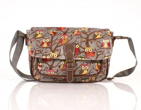 Grey Shoulder Bag w/ Front Pocket & Buckle