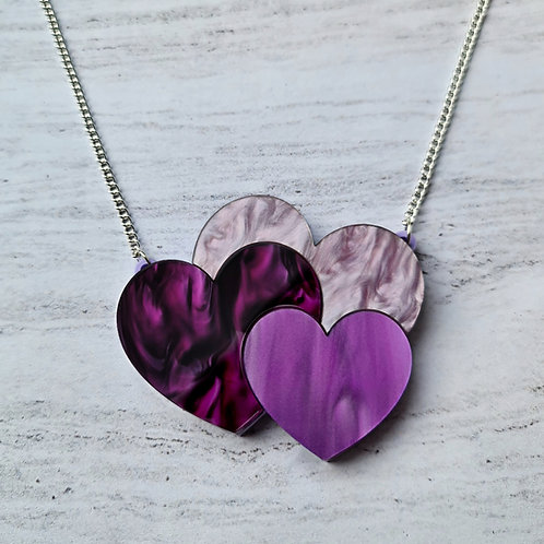 Purple Hearts Trio Necklace