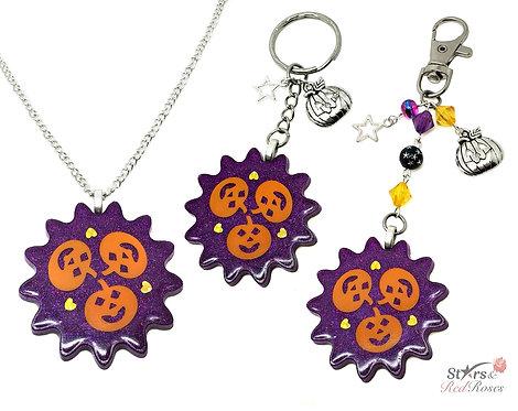 Halloween Pumpkin Jack O Lantern Resin Pendant