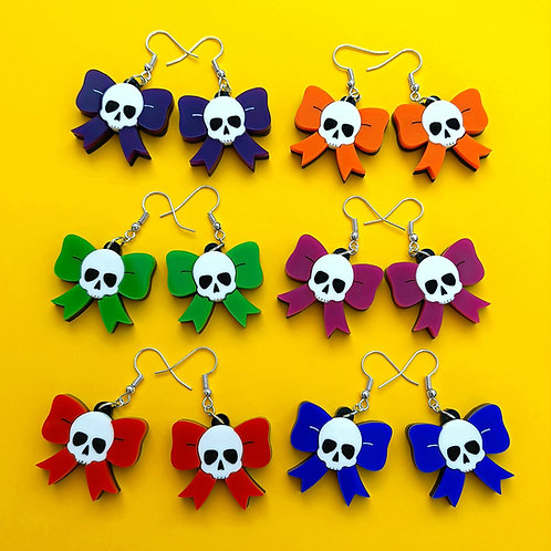 Skully Bow Earrings - choose your colour