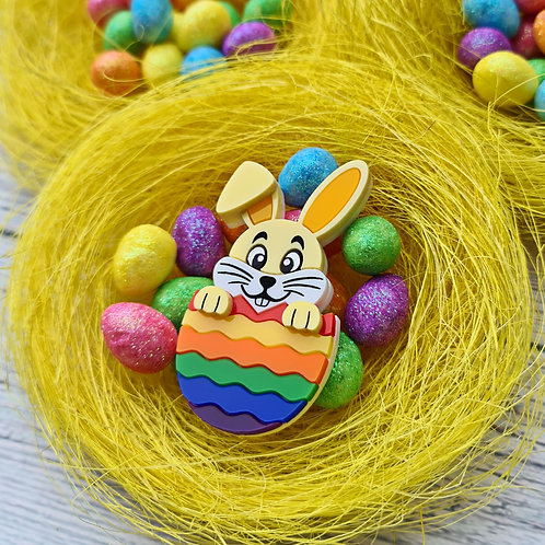 Yellow Hatching Easter Bunny Brooch