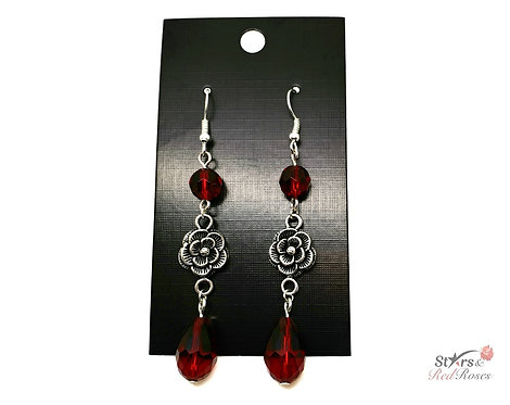 Blood Red Rose Dangle Earrings