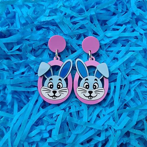 Blue Bunny Head Statement Earrings