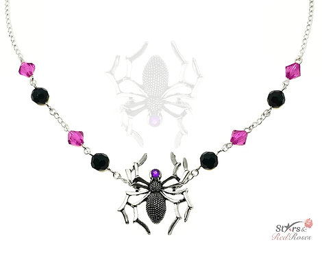 Spider Silver Charm Necklace