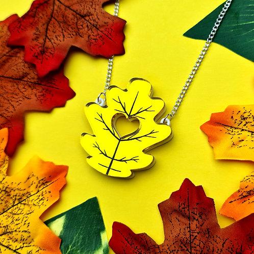 Yellow Oak Leaf Mirror Acrylic Necklace
