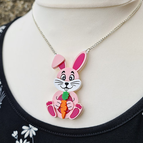 Pink Bunny with Carrot Necklace