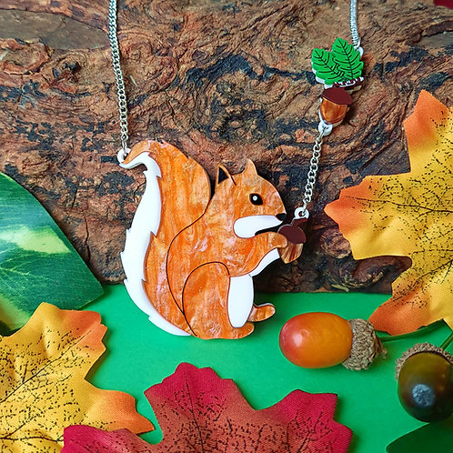Cyril the Squirrel Acrylic Necklace
