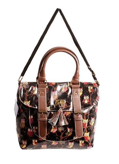 Large Black Owl Handbag with Tassel & Buckle