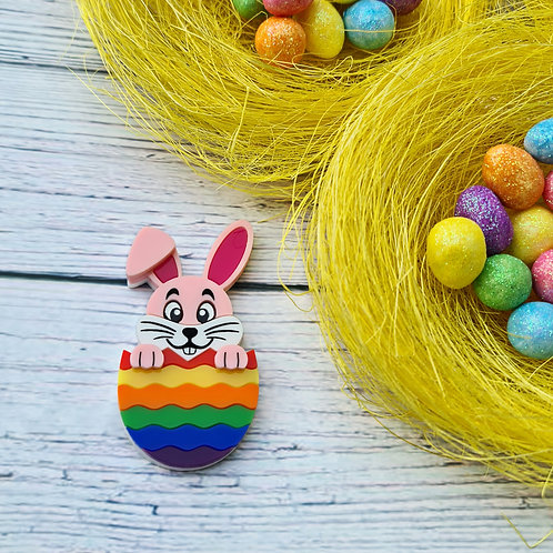 Pink Hatching Easter Bunny Brooch