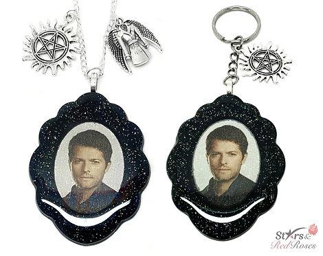 Misha Collins Supernatural Cosplay Castiel Angel Resin Pendant Pentagram Demon Statement Necklace Gift For Geeks Destiel