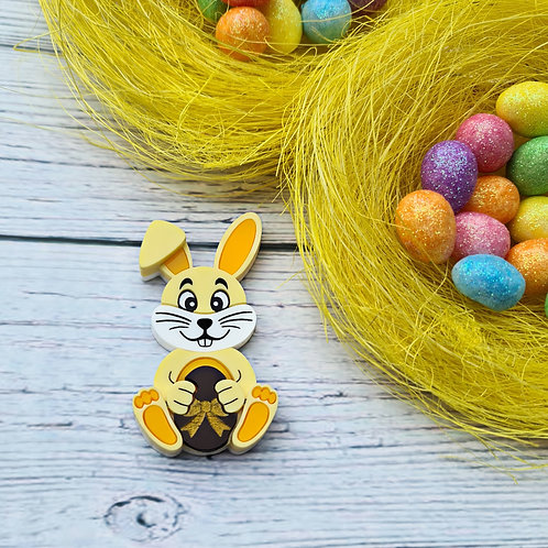 Yellow Bunny with Choc Egg Brooch