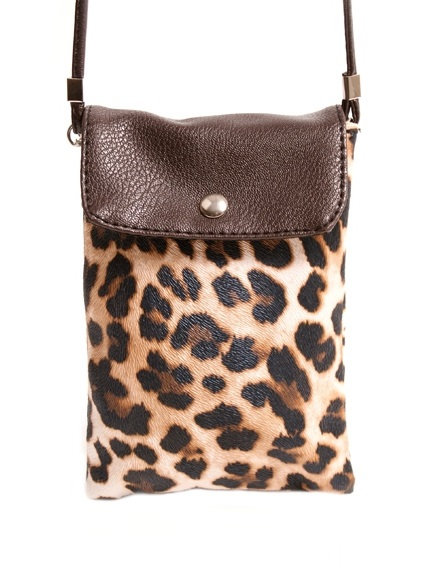 Light Brown Slim Animal Print Neck Bag w/ Flapover
