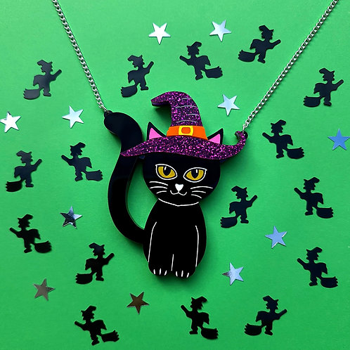 Black Cat in a Witches Hat Necklace