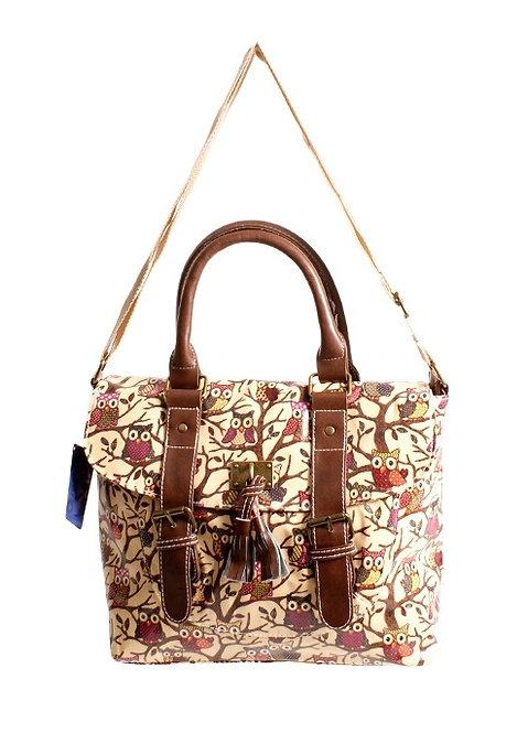 Large Yellow Owl Handbag with Tassel & Buckle