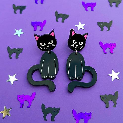 Dancing Black Cat Earrings