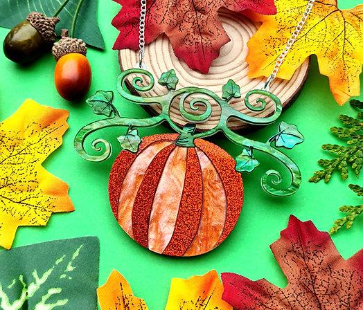 Sparkly Harvest Pumpkin Statement Necklace