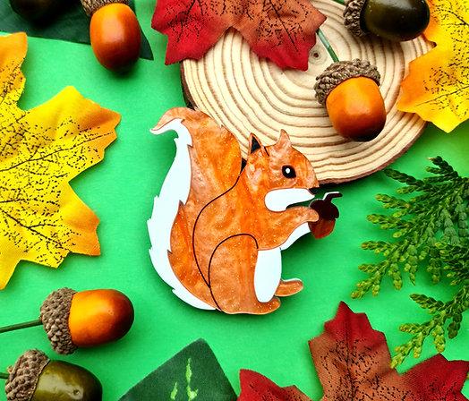 Cyril the Squirrel Acrylic Brooch