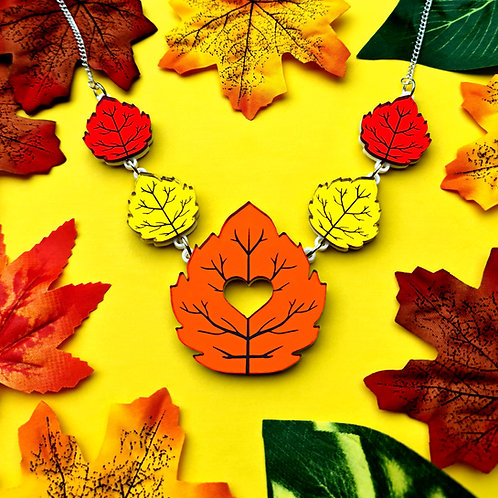 Linked Autumn Leaves Mirror Acrylic Necklace