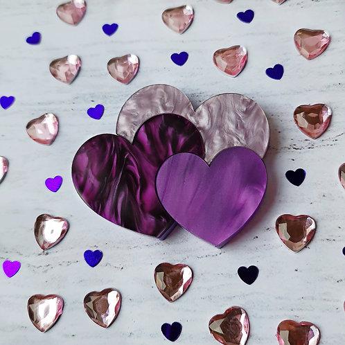 Purple Hearts Trio Brooch