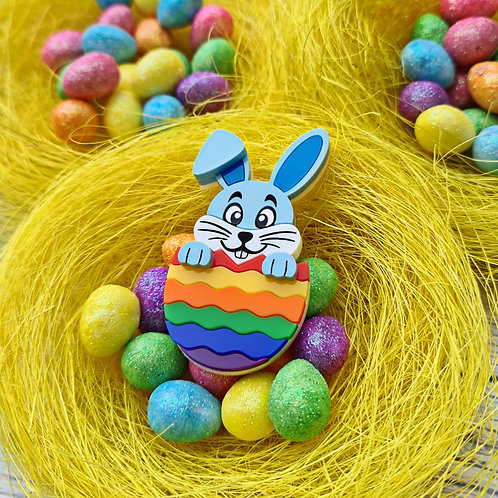 Blue Hatching Easter Bunny Brooch