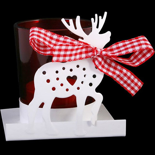 White & Red Reindeer Candle Holder with Ribbon