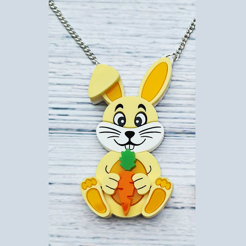 Yellow Bunny with Carrot Necklace