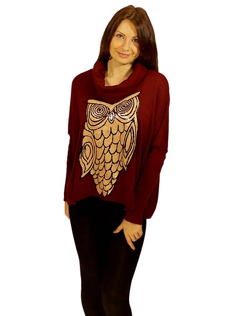 Wine Coloured Cowl Neck Owl Jumper - One Size