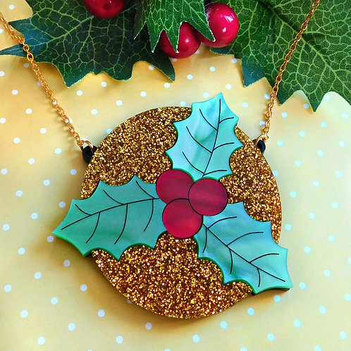 Sparkly Holly Leaf Necklace