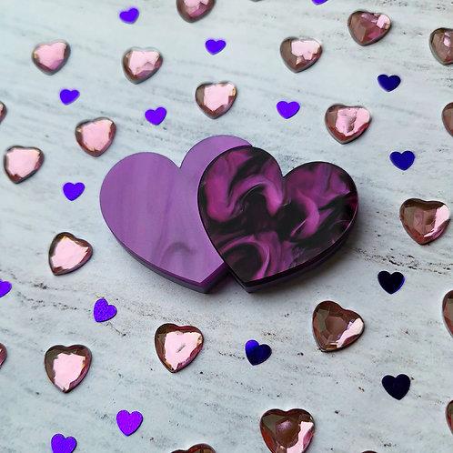 Purple Double Hearts Brooch