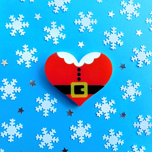 Santa Heart Brooch