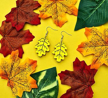 Yellow Leaf Mirror Acrylic Earrings
