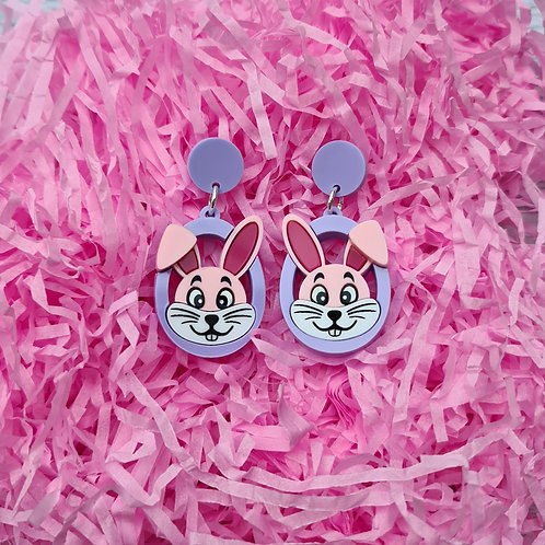 Pink Bunny Head Statement Earrings