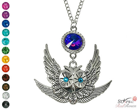 Midnight Crystal Owl Necklace
