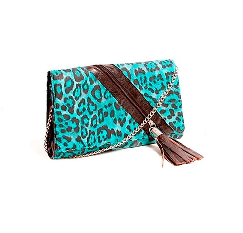 Medium Blue Leopard Print Clutch Bag