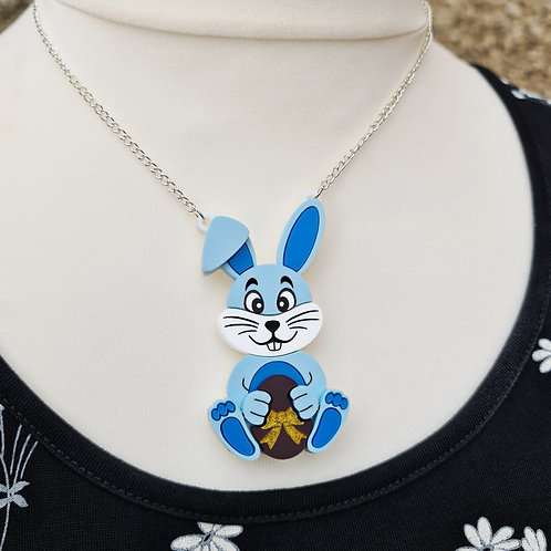 Blue Bunny with Choc Egg Necklace