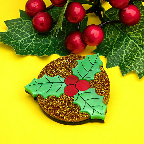Sparkly Holly Leaf Brooch