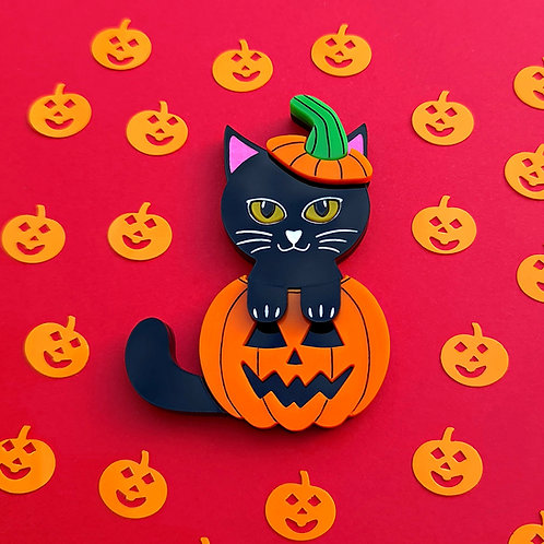 Black Pumpkin Cat Brooch