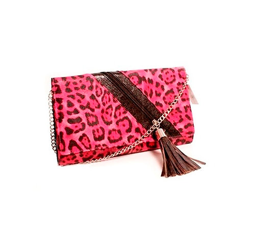 Medium Pink Leopard Print Clutch Bag