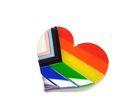 Progress Pride Flag Heart Brooch